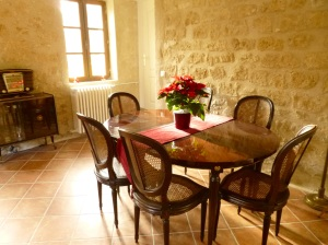 Cherry table and caned chairs