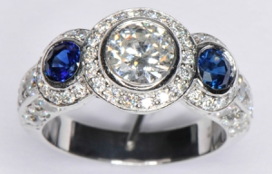 This vintage platinum, diamond and sapphire ring sold for $10,000. Prince Charles paid $65,000 for Diana's engagement ring.