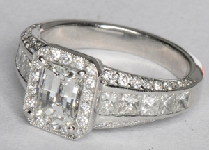 A one-karat diamond, set in platinum and surrounded by more diamonds. It sold for $3,900.