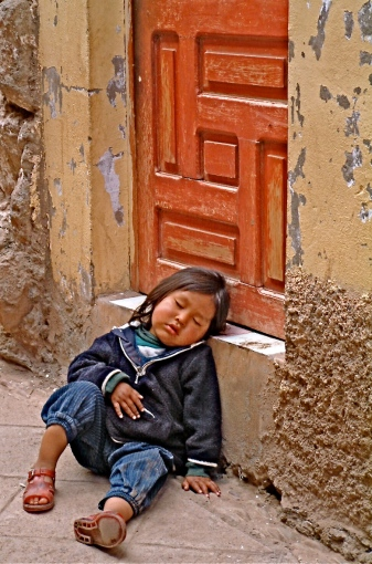 Napping child, Peru
