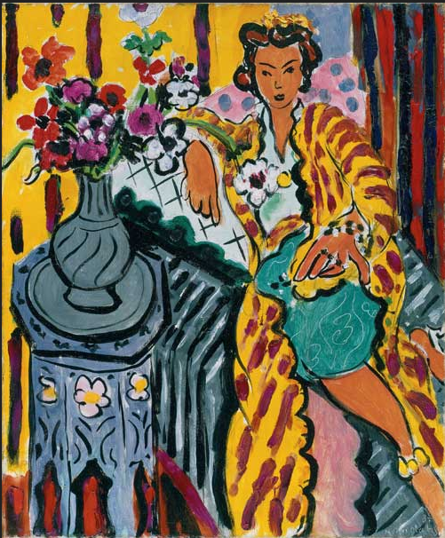 Henri Matisse, 1937 Odalisque with Yellow Persian Robe and Anemone.  Philadelphia Museum of Art, The Samuel S. White 3rd and Vera White Collection