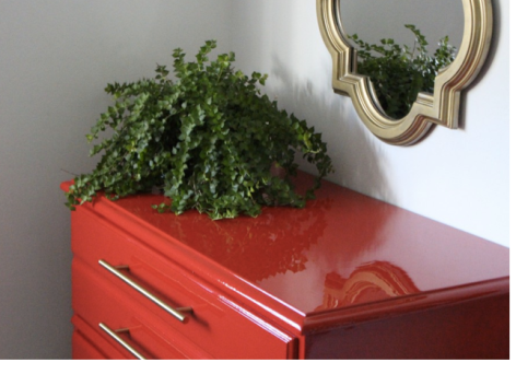 painted furniture, red paint