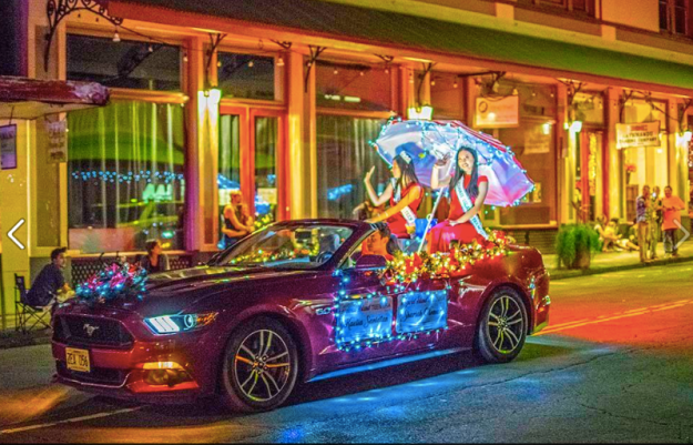 This snazzy Mustang was photographed by Jim Selzer during the annual parade of lights in Hilo, Hawaii.