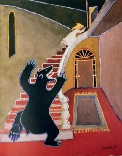 bear on the stair art